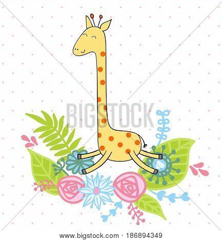 Cute giraffe with flowers. Vector greeting card.
