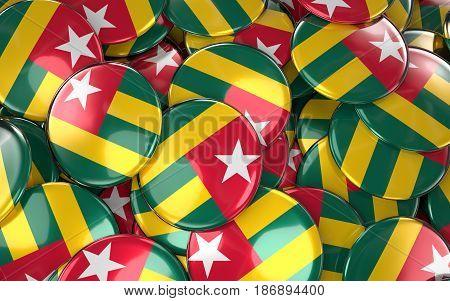 Togo Badges Background - Pile Of Togo Flag Buttons.