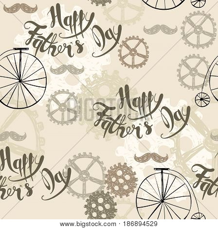 Happy fathers day. Hand drawn seamless pattern