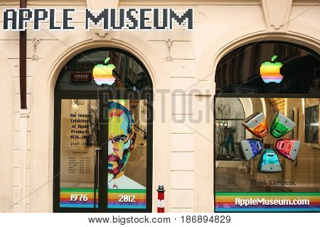 Prague, Czech Republic, December 24, 2016: Apple museum in Prague. Europe. American brand Name of the company