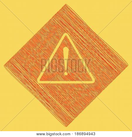 Exclamation danger sign. Flat style. Vector. Red scribble icon obtained as a result of subtraction rhomb and path. Royal yellow background.