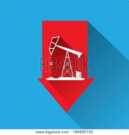 Oil price falling down graph illustration. vector illustration background