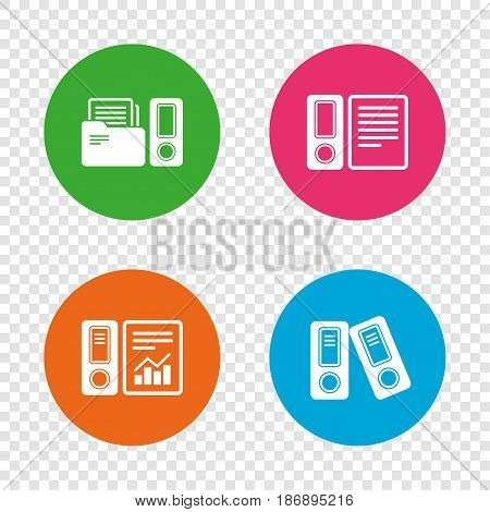 Accounting report icons. Document storage in folders sign symbols. Round buttons on transparent background. Vector
