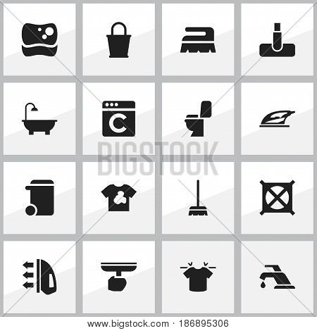 Set Of 16 Editable Cleanup Icons. Includes Symbols Such As Clean T-Shirt, No Laundry, Whisk And More. Can Be Used For Web, Mobile, UI And Infographic Design.