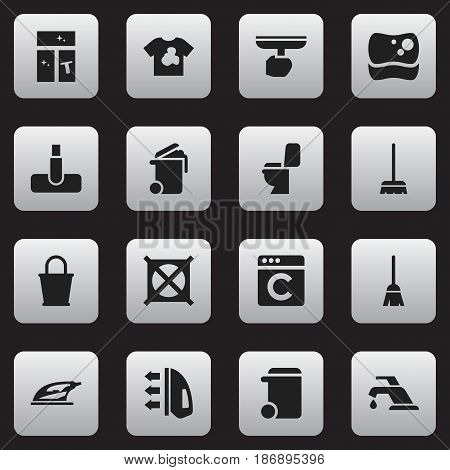 Set Of 16 Editable Hygiene Icons. Includes Symbols Such As Hoover, Unclean Blouse, Pail And More. Can Be Used For Web, Mobile, UI And Infographic Design.