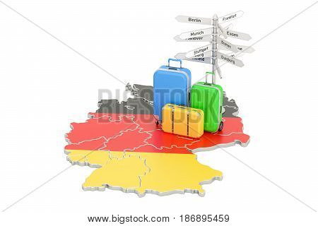 Germany travel concept. German flag on map with suitcases and signpost 3D rendering