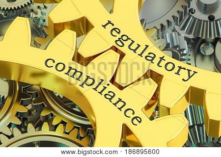 regulatory compliance concept on the gearwheels 3D rendering