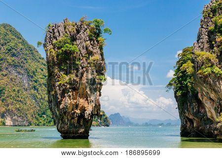 Famous rocky James Bond Island. Phang nga bay, Phuket, Thailand.