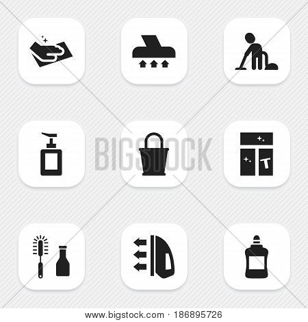 Set Of 9 Editable Cleanup Icons. Includes Symbols Such As Towel, Pail, Cleaner And More. Can Be Used For Web, Mobile, UI And Infographic Design.