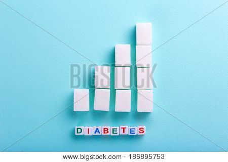 The rise in blood sugar is a graph of the growth of sugar cubes. Word Diabetes from cubes. Empty place for text copy paste