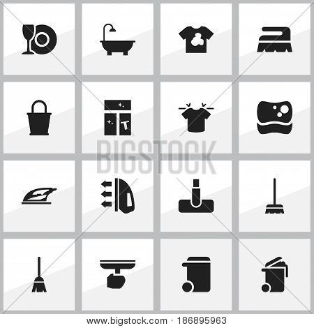 Set Of 16 Editable Dry-Cleaning Icons. Includes Symbols Such As Plate, Pail, Container And More. Can Be Used For Web, Mobile, UI And Infographic Design.