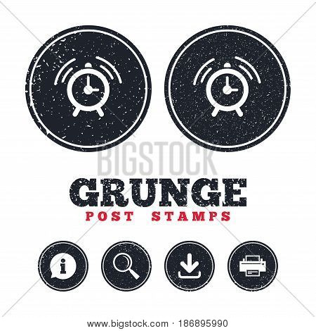 Grunge post stamps. Alarm clock sign icon. Wake up alarm symbol. Information, download and printer signs. Aged texture web buttons. Vector