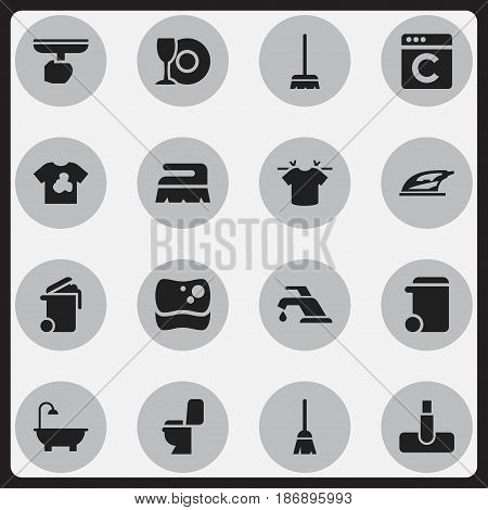 Set Of 16 Editable Cleanup Icons. Includes Symbols Such As Bathroom, Unclean Blouse, Whisk And More. Can Be Used For Web, Mobile, UI And Infographic Design.
