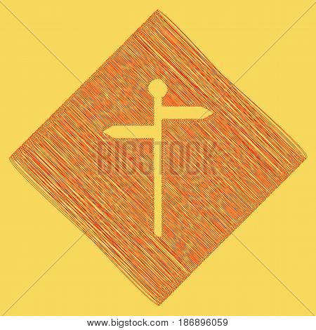 Direction road sign. Vector. Red scribble icon obtained as a result of subtraction rhomb and path. Royal yellow background.