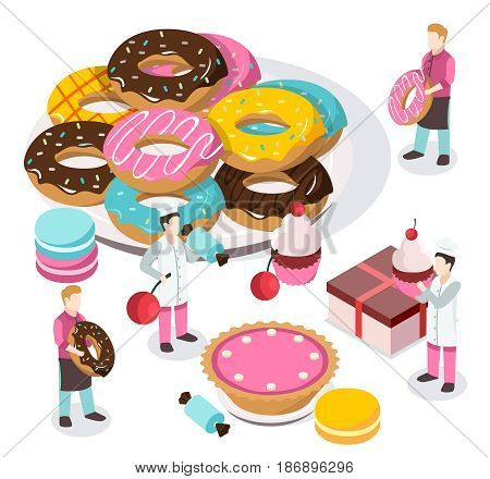 Sweet shop isometric composition with bakers and waiters, donuts, macaroons, cupcake, carton on white background vector illustration