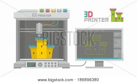 3D Printer in cartoon style isolated on white background