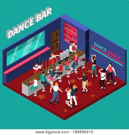 Dance bar isometric composition with bartenders working behind bar counter and young dancing people vector illustration