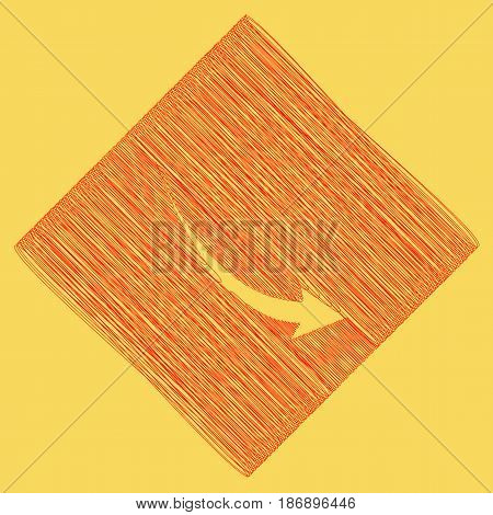 Declining arrow sign. Vector. Red scribble icon obtained as a result of subtraction rhomb and path. Royal yellow background.
