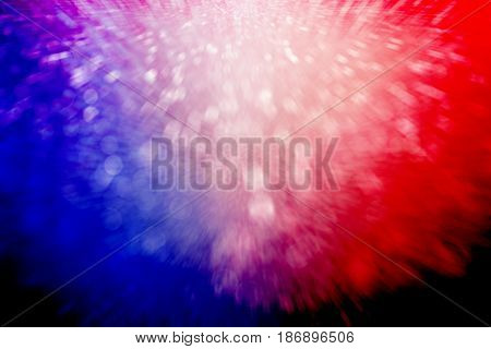 Abstract patriotic red white and blue sparkle explosion burst background for party celebration, July exploding fireworks blast, memorial, freedom, sale, labor day and independence