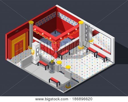 Theatre hall isometric composition with lights benches and mirror vector illustration