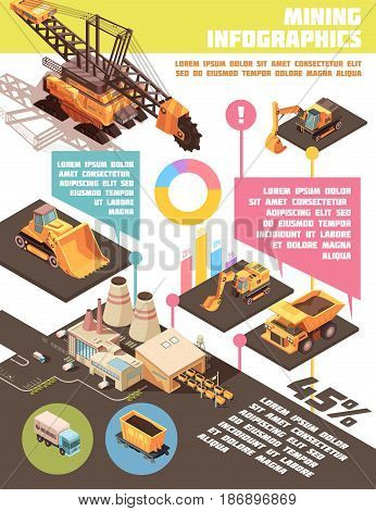 Infographic mining poster with composition of isometric images graphs and editable text with plant and machinery vector illustration