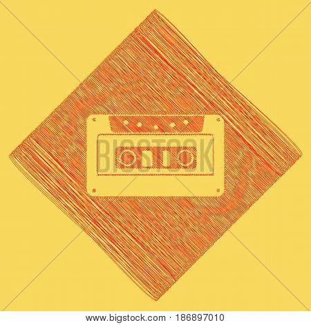 Cassette icon, audio tape sign. Vector. Red scribble icon obtained as a result of subtraction rhomb and path. Royal yellow background.