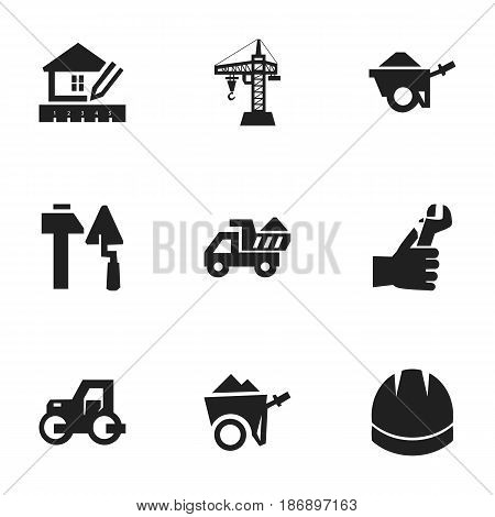 Set Of 9 Editable Structure Icons. Includes Symbols Such As Handcart , Camion , Hands. Can Be Used For Web, Mobile, UI And Infographic Design.