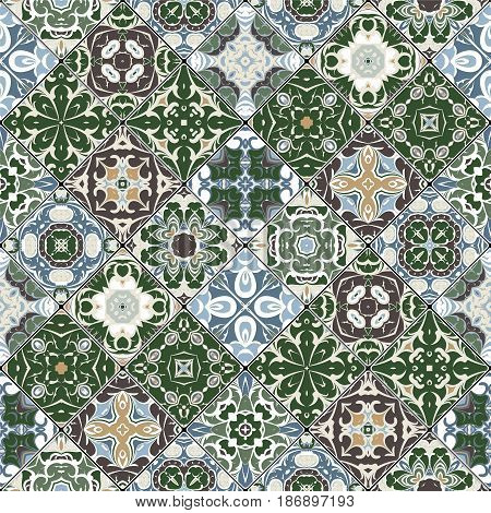Green and blue abstract patterns in the mosaic set. Square scraps in oriental style. Vector illustration. Ideal for printing on fabric or paper.