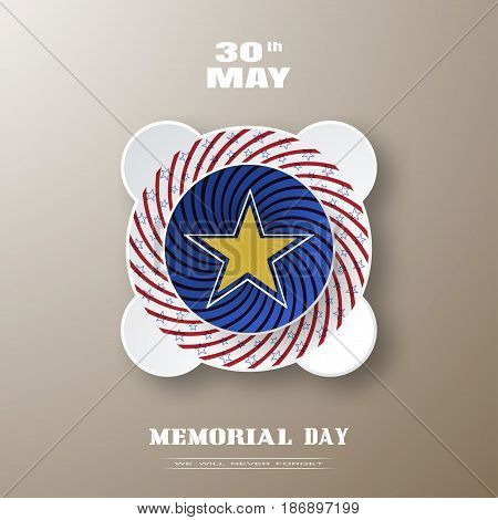 Vector poster of Memorial Day with label cut from paper with red twisted rays and blue stars and shadow on the gradient brown background.