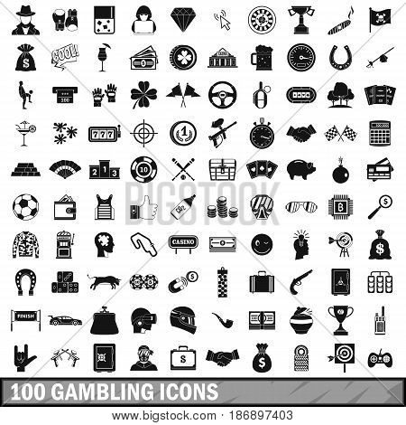 100 gambling icons set in simple style for any design vector illustration