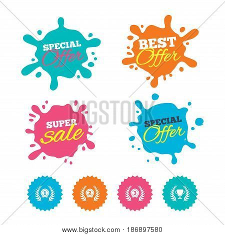 Best offer and sale splash banners. Laurel wreath award icons. Prize cup for winner signs. First, second and third place medals symbols. Web shopping labels. Vector