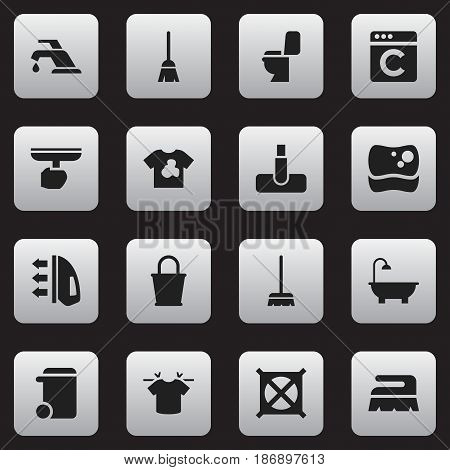 Set Of 16 Editable Dry-Cleaning Icons. Includes Symbols Such As Broomstick, Clean T-Shirt, Bathroom And More. Can Be Used For Web, Mobile, UI And Infographic Design.