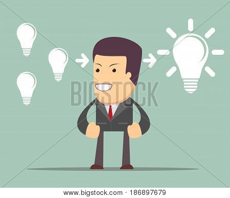 businessman Think about ideas. man stands in front of bulbs elements. cooperate concept.