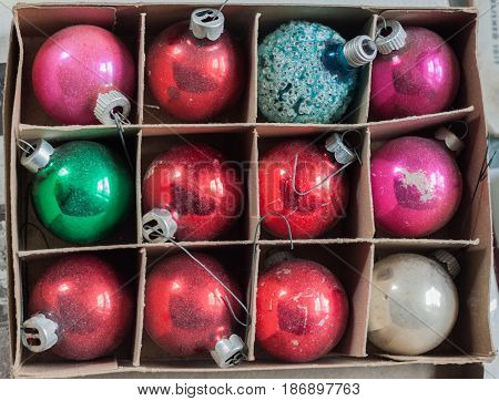 Box of christmas ornaments found in an antique store