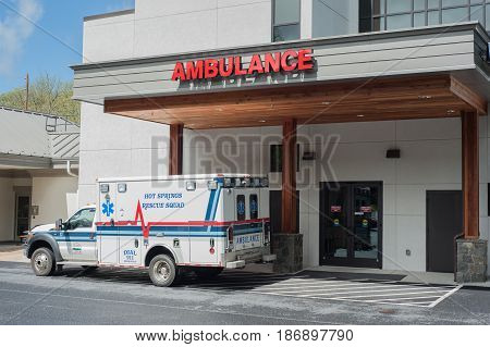 HOT SPIRNGS VIRGINIA- MAY 5 2017: Ambulance waiting at the Emergency Room in Bath Community Hospital