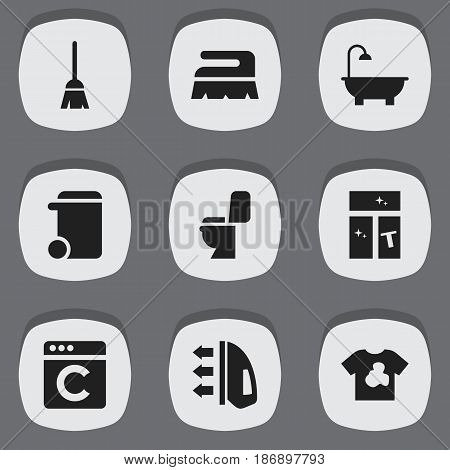 Set Of 9 Editable Dry-Cleaning Icons. Includes Symbols Such As Restroom, Steam, Washing Glass And More. Can Be Used For Web, Mobile, UI And Infographic Design.