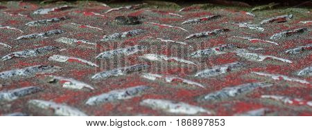 Detail of a diamond plate steel floor
