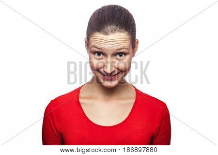 Portrait of cunning woman in red t-shirt with freckles. looking at camera studio shot. isolated on white background.