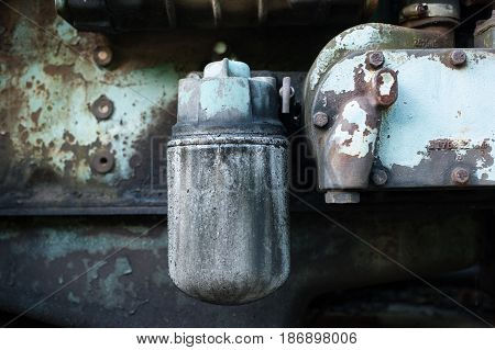 Detail of the diesel engine of an abandoned crane