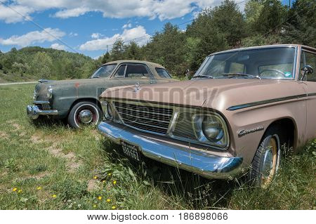 EAGLE ROCK VIRGINIA-MAY 2 2017: A 1960 Buick Lesabre parked by the side of the road.