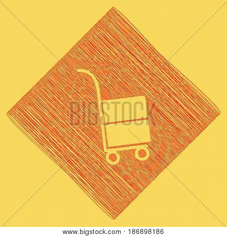 Hand truck sign. Vector. Red scribble icon obtained as a result of subtraction rhomb and path. Royal yellow background.