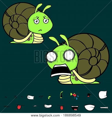 screaming little snail cartoon expressions set in vector format very easy to edit