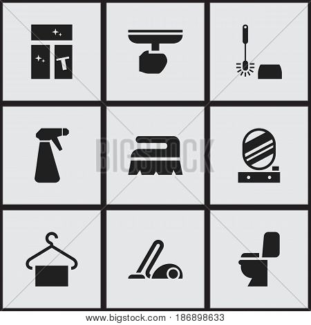 Set Of 9 Editable Hygiene Icons. Includes Symbols Such As Sweep, Pulverizer, Restroom And More. Can Be Used For Web, Mobile, UI And Infographic Design.