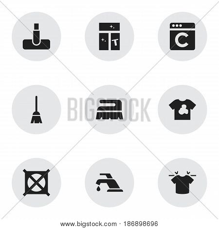 Set Of 9 Editable Hygiene Icons. Includes Symbols Such As Clean T-Shirt, Washing Glass, Laundress And More. Can Be Used For Web, Mobile, UI And Infographic Design.