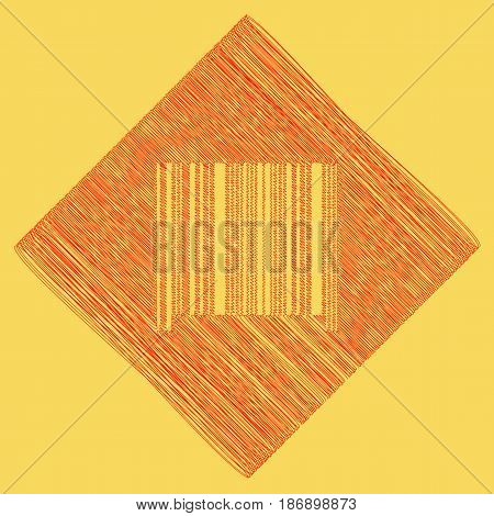Bar code sign. Vector. Red scribble icon obtained as a result of subtraction rhomb and path. Royal yellow background.