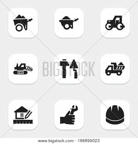 Set Of 9 Editable Construction Icons. Includes Symbols Such As Mule, Construction Tools, Caterpillar And More. Can Be Used For Web, Mobile, UI And Infographic Design.