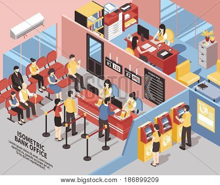 Bank office with interior elements, clients near workers and atms, in waiting area isometric vector illustration