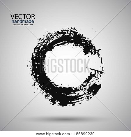 Hand drawn circle shape. label logo design element. Brush abstract wave. Black enso zen symbol. Template for text.Vector illustration