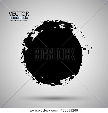 Hand drawn circle shape. label, logo design element. Brush abstract wave. Black enso zen symbol. Template for text.Vector illustration