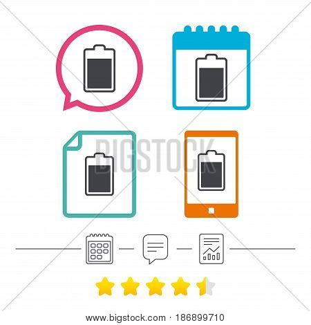 Battery level sign icon. Electricity symbol. Calendar, chat speech bubble and report linear icons. Star vote ranking. Vector